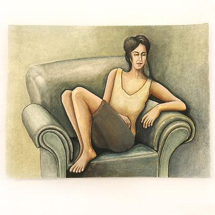 אישה על הספה