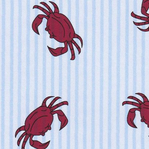 Printed Seersucker Fabric – Red Crabs on Blue