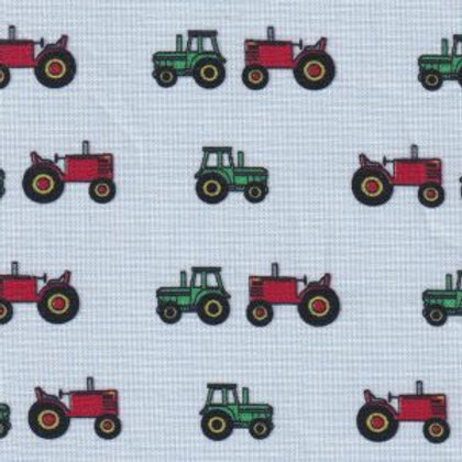 Tractor Print Fabric- Red and Green on Blue Micro Check – Print #2401