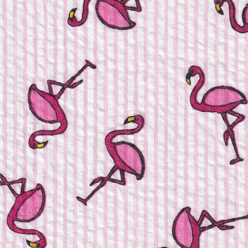 Printed Flamingo Seersucker Fabric - Hot Pink Flamingos on Pink