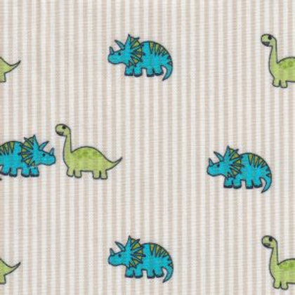 Dinosaur Print Fabric- Blue and Green on Khaki Stripes – Print #2396