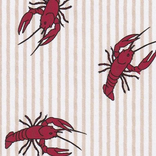 Printed Seersucker Fabric – Red Crawfish on British Tan