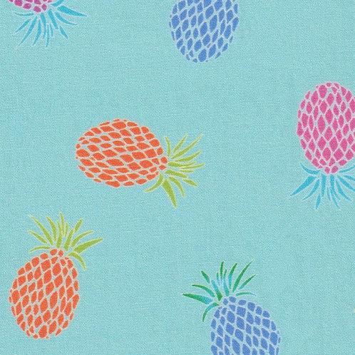 Pineapple Print Fabric- Orange, Pink, Blue, Green and Aqua – Print #2405