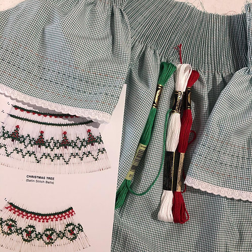 Pre-pleated Bishop Dress with Christmas Tree Stitch Plate