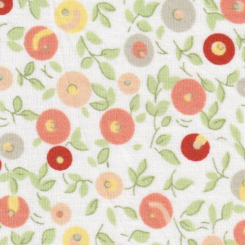 Orange Floral Fabric - Print #2342