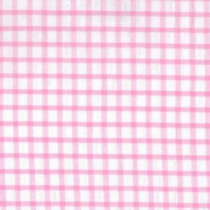 Windowpane Check Seersucker Fabric - Pink