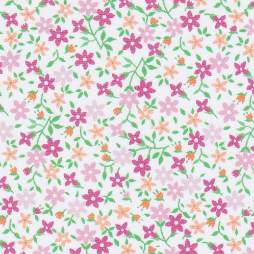 Floral Fabric: Pink, Tangerine and Green - #2207