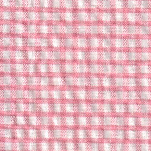 Seersucker Check Fabric - Coral