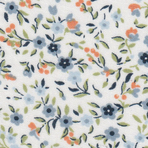 Blue and Orange Floral Fabric – Print #2324