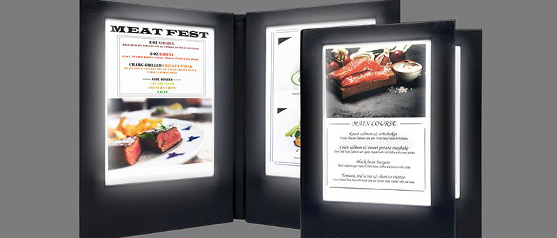 兩頁四面發光餐牌 LED Menu Cover 2 Panel 4 Light View  (一套五本5 Pcs in 1 Set)