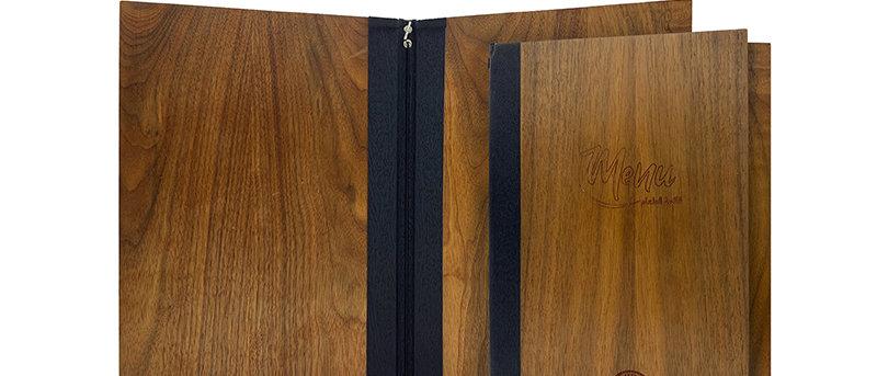鬆緊帶木製餐牌(書本型) Paper Only Wooden Booklet