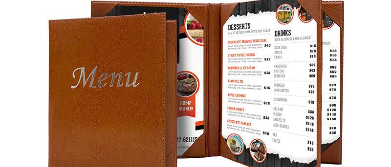 皮製內相角餐牌 Leather Fixed Interior Booklet