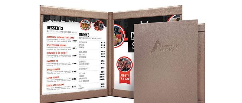 皮製上下帶餐牌 Leather Horizontal Bar Menu Booklet