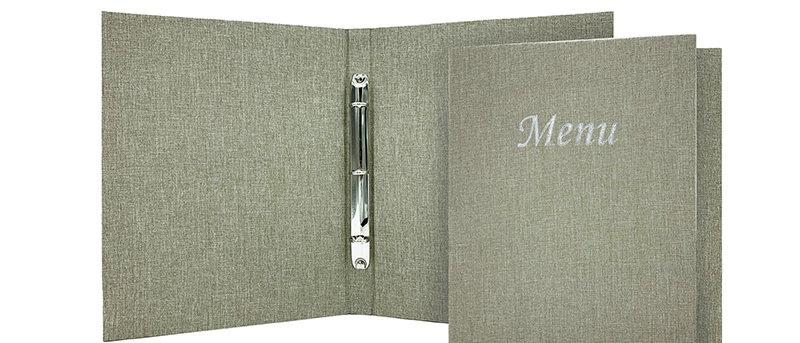 麻布製環扣餐牌 Ring Binder Linen Menu