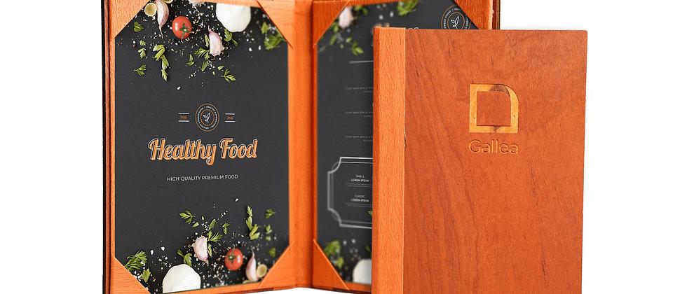 內相角木製餐牌(書本型)Wooden Fixed Interior Booklet