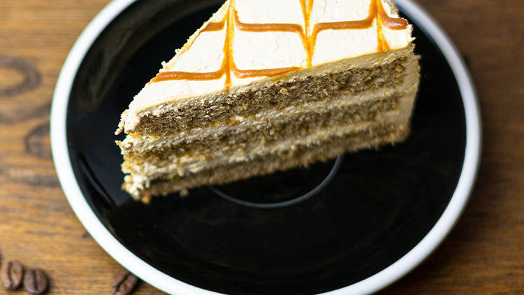Coffee Caramel Cake Slice