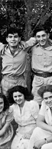 תלמידי הכתה השביעית בגמנסיה  הריאלית, 1945  עומדים מימין לשמאל: דוב בן־דרור, אמנון חביב, דוד טולמצקי, כרמי דויטש, מורל'ה בר־און, חבר מבית  עובד. יושבות מימין לשמאל: חנה שלמוני, שולה ווקס, נעמי זוסמן.