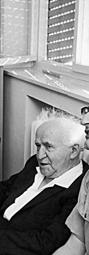 עם בן גוריון וסגני סאל גד מזור במחנה מרכוס, 1962