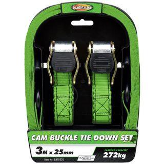 "TIE DOWN SET - 2pc CAM BUCKLE 25MM (1"") x 3MTR 272KG"