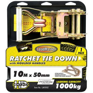 """TIE DOWN - RATCHET WITH MOULDED HANDLES 50MM (2"""") x 10MTR 1000KG"""