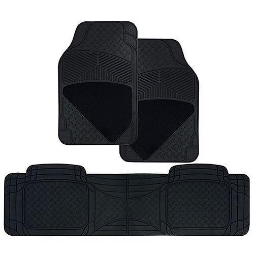 MAT SET - 3pc CARPET AND RUBBER BLACK