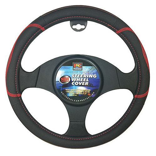 STEERING WHEEL COVER BL/RD