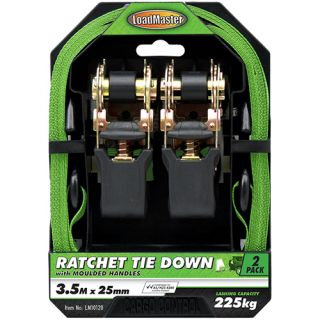 """TIE DOWN SET - 2pc RATCHET WITH MOULDED HANDLES 25MM (1"""") x 4.5MTR 340KG WITH ST"""