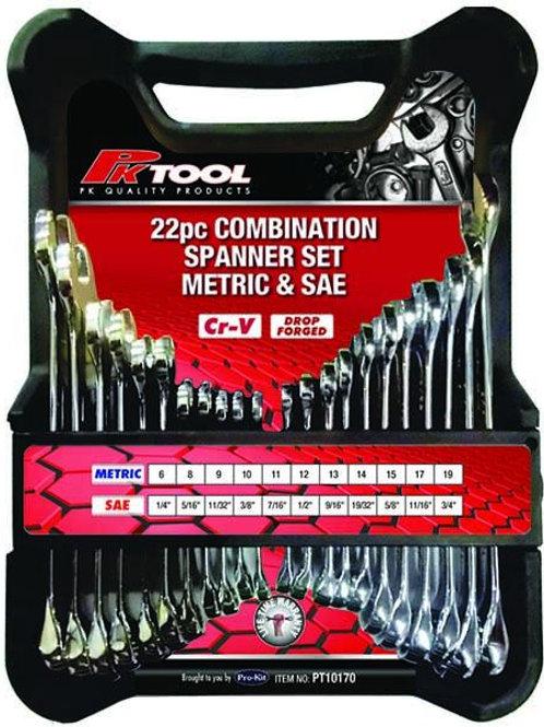 22pc METRIC & SAE Cr-V COMBINATION SPANNER SET