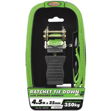"TIE DOWN - RATCHET WITH MOULDED HANDLES 25MM (1"") x 4.5MTR 350KG"