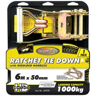 "TIE DOWN - RATCHET WITH MOULDED HANDLES 50MM (2"") x 6MTR 1000KG"