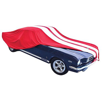 FIRE RED with WHITE STRIPES SHOW CAR COVER