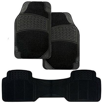 3pc BLACK CARPET/RUBBER MAT SET