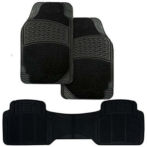 3pc BLACK CARPET/RUBBER MAT SET