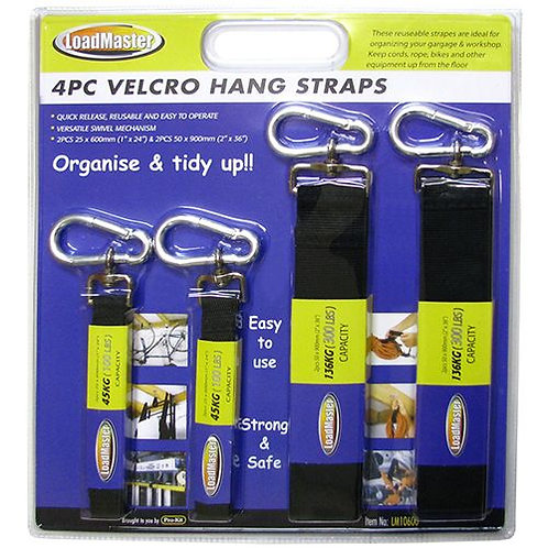 HANG STRAPS - 4pc VELCRO 2pc 25mm x 600mm 45kg, 2pc 50mm x 900mm 136kg