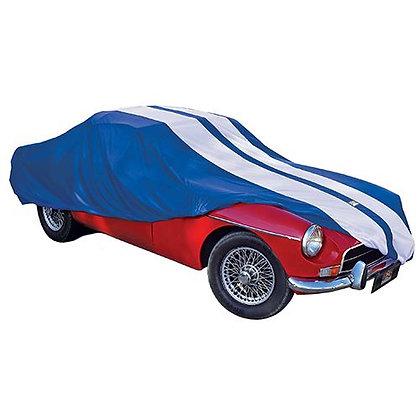 CAR COVER  - SHOW CAR MED BLUE & WHITE 4.57 LONG X 1.65 WIDE X 1.3MTR HIGH