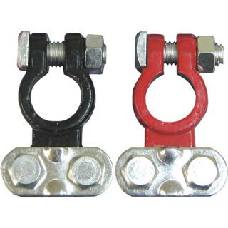 BATTERY TERMINAL - 2pc RED & BLACK SADDLE TYPE LEAD