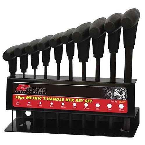 HEX KEY SET- 10pc METRIC T HANDLE SET ON STAND