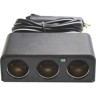CIGARETTE LIGHTER ACCESSORY SOCKET - WITH 3 OUTLETS & 2MTR COILED WIRE 12V