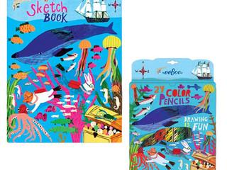 eeBoo In the Sea 24 Colored Pencils & Sketchbook