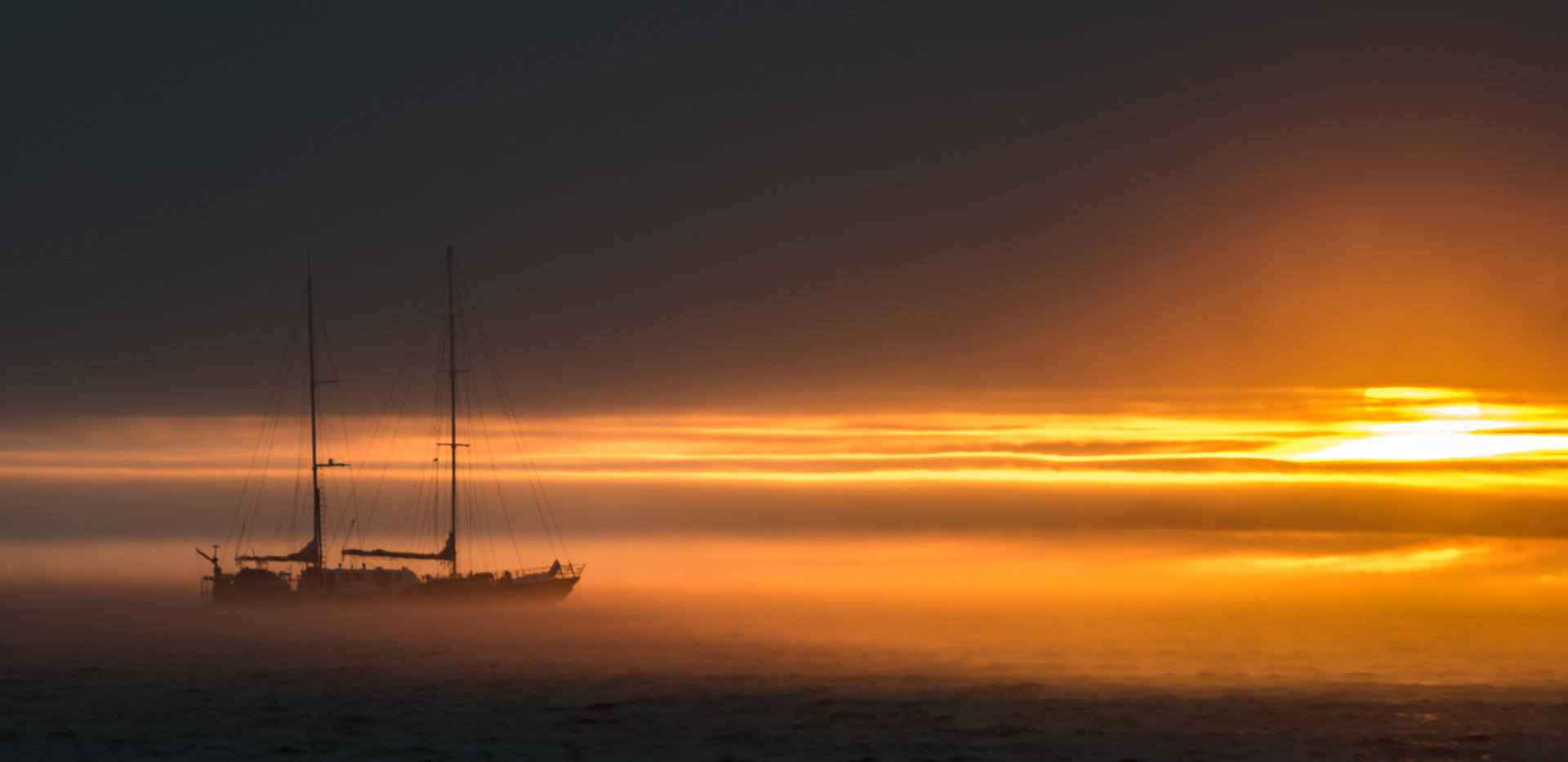 Misty Sunset on the anchorage