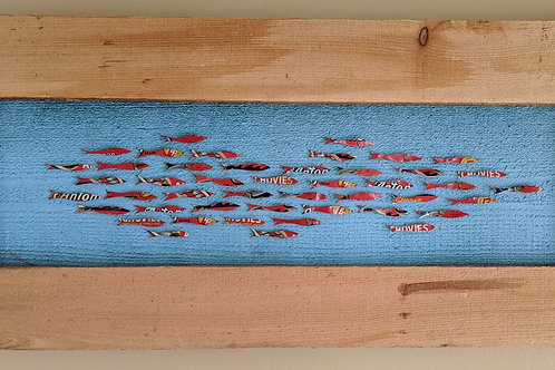 fish art made with recycled materials scrap fence wood frame don antonio anchovy tin lid vintage