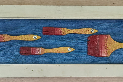 fish art made with recycled materials scrap fence wood frame used paintbrushes resin brushes Ventana Surfboards