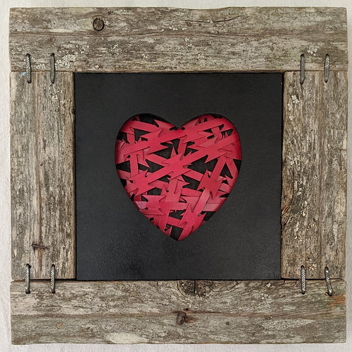 recycled materials heart razor wire red inner demons scrap wood