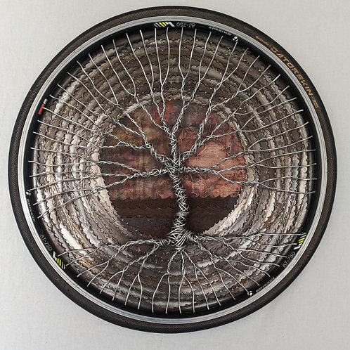 recycled materials art Tree of Life aluminum wire house of the rising sun band saw blades
