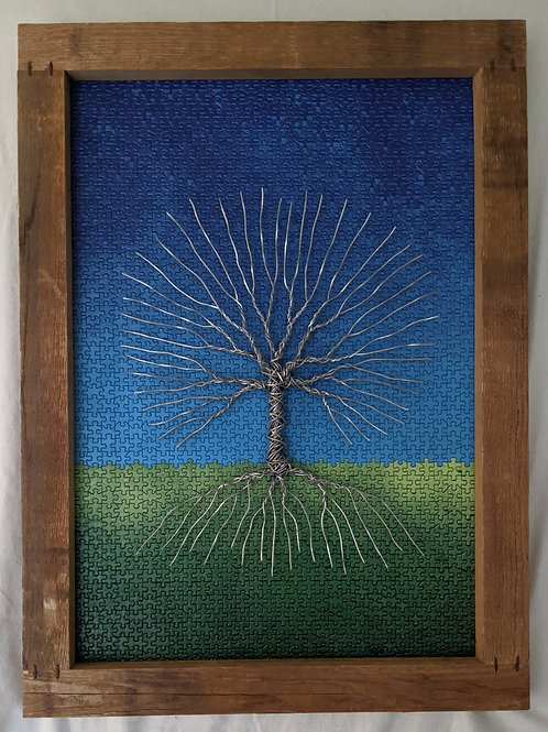 Wire tree of life puzzle background recycled materials art