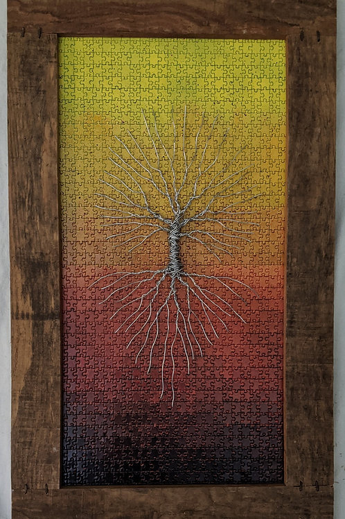 Wire tree of life recycled materials art puzzle background scrap wood frame