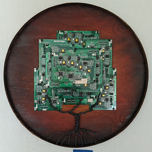 tree made of circuit boards motherboards recycled materials art red sunset round