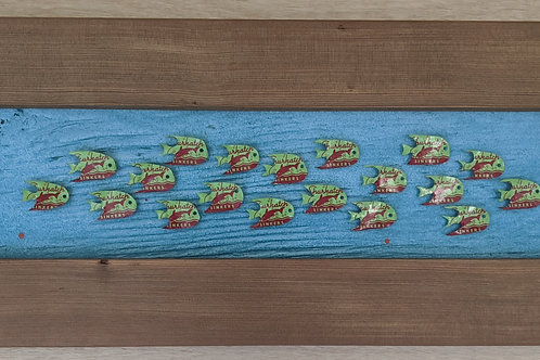 fish art made with recycled materials scrap fence wood frame shurkatch sinkers vintage