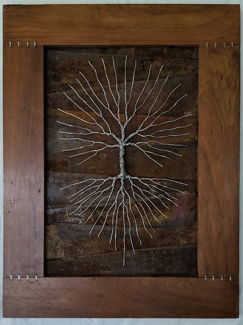 Recycled materials art tree of life saw blades rustic antique aluminum high tension wire