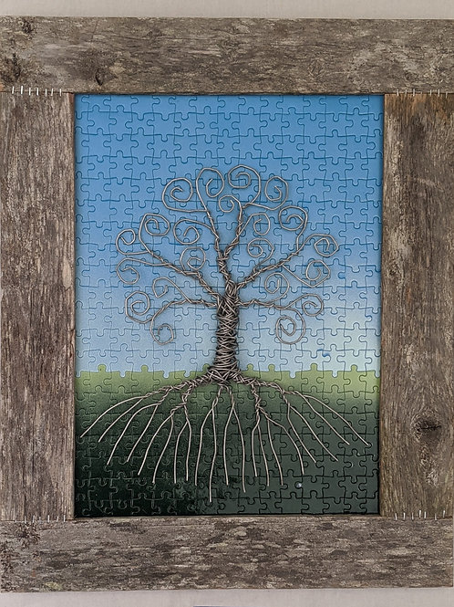 silver aluminum wire tree of life puzzle background recycled materials art hand made frame